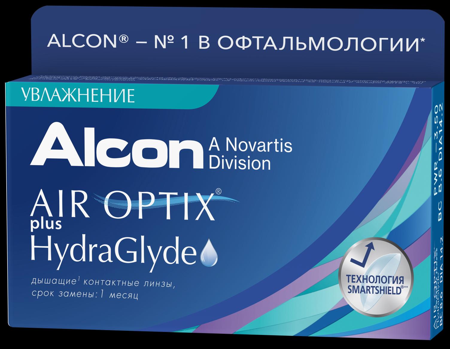 Контактные линзы Air Optix plus HydraGlyde 6 шт.